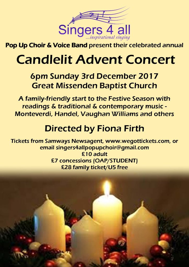 Singers4All Advent poster 2017