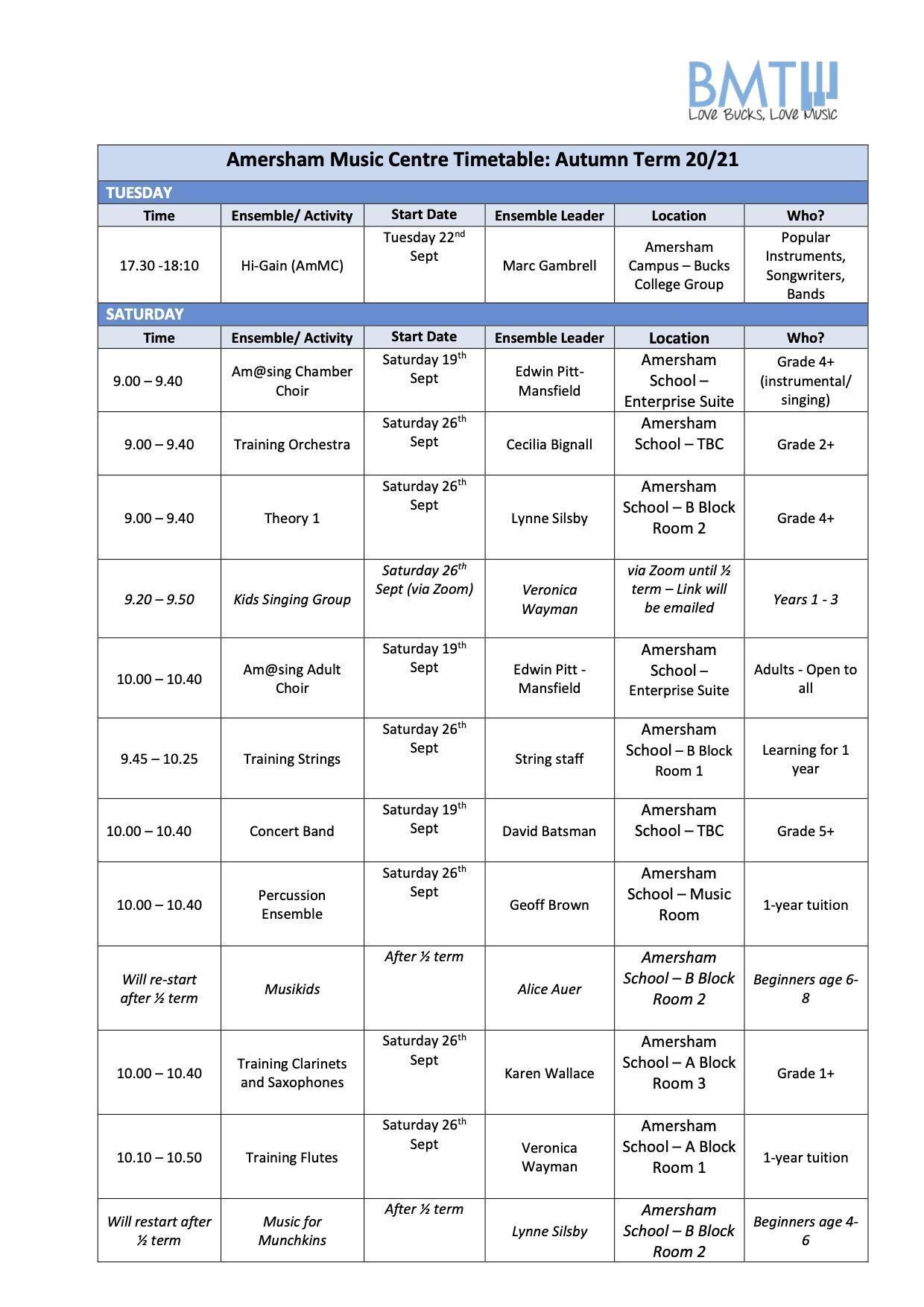 AmMC Timetable (listed) Autumn Term 20-21 Nu