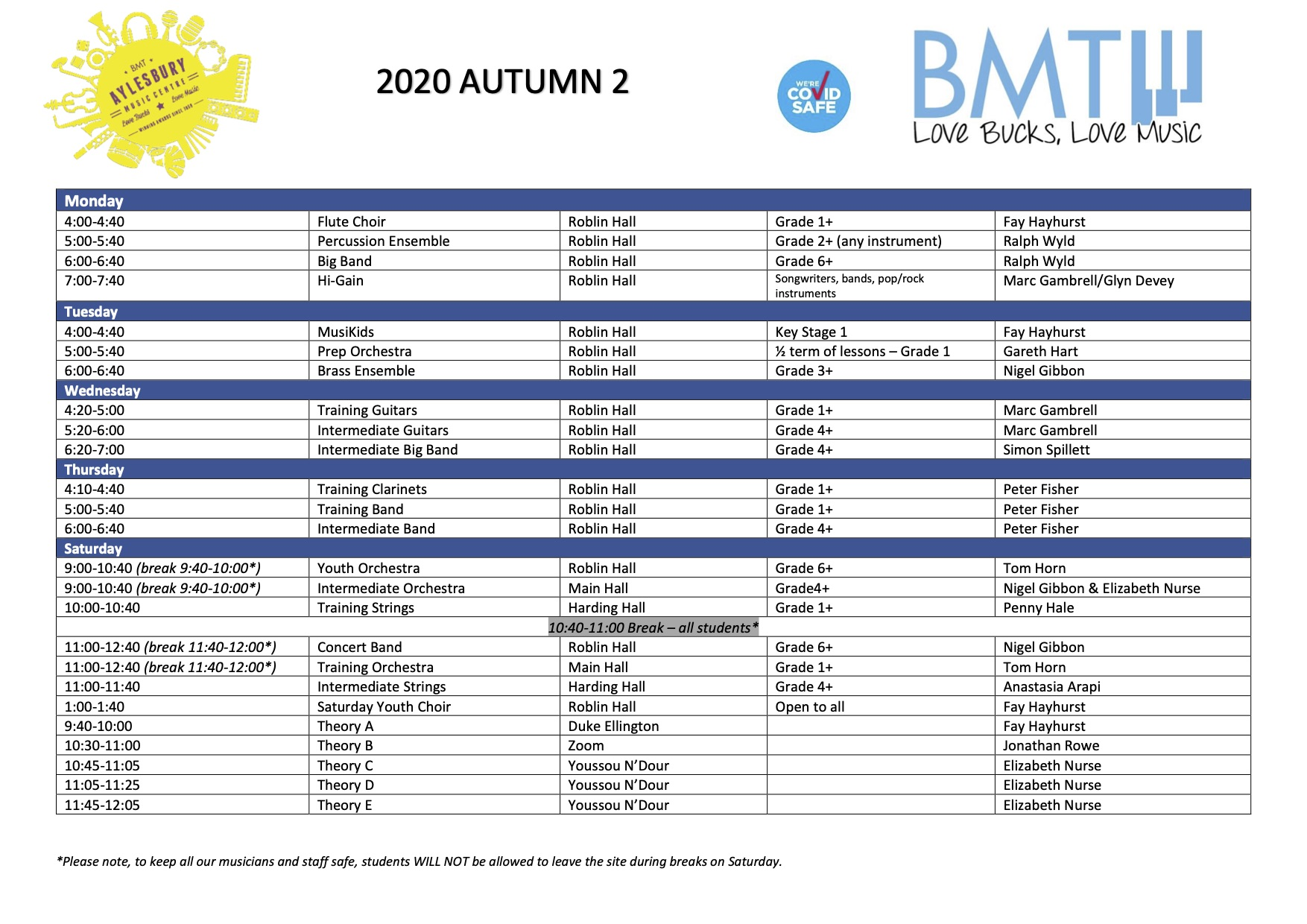 Autumn 2 2020 timetable