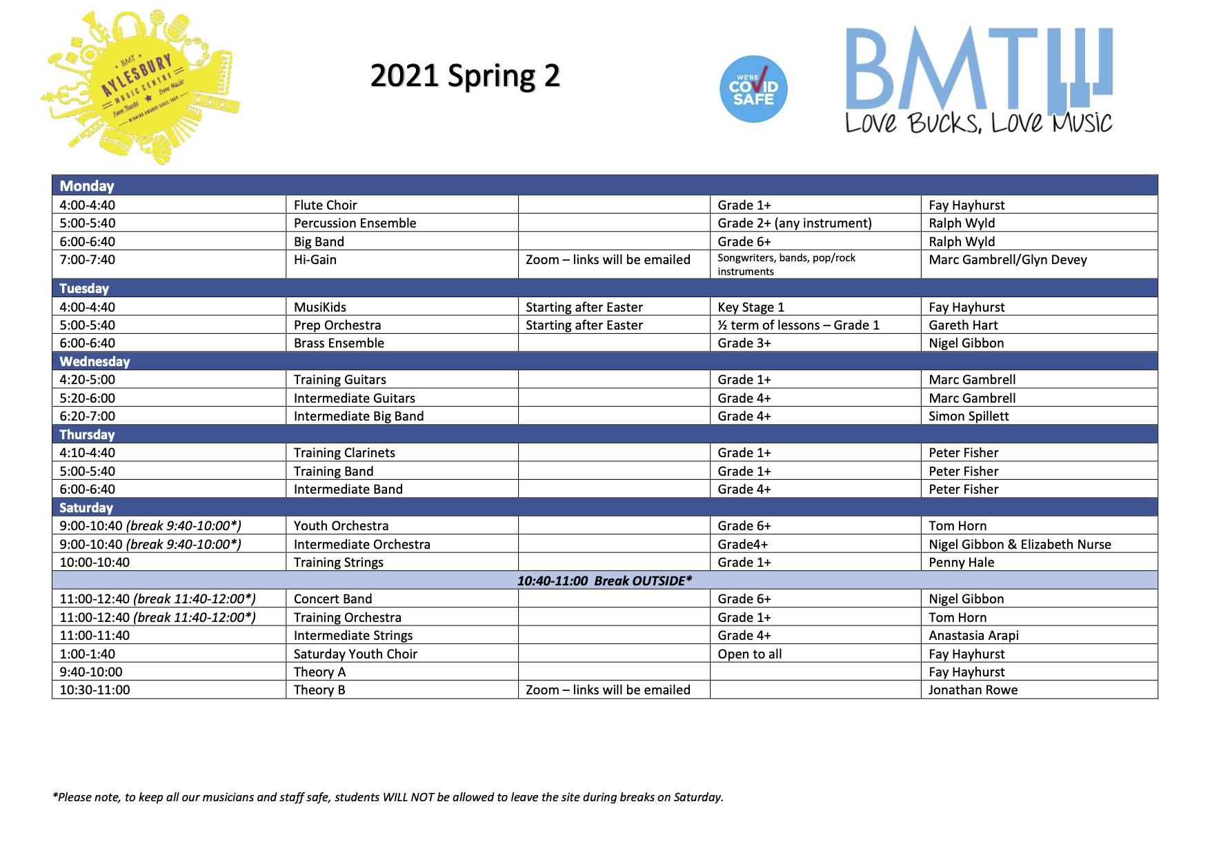 Spring 2 2021 timetable