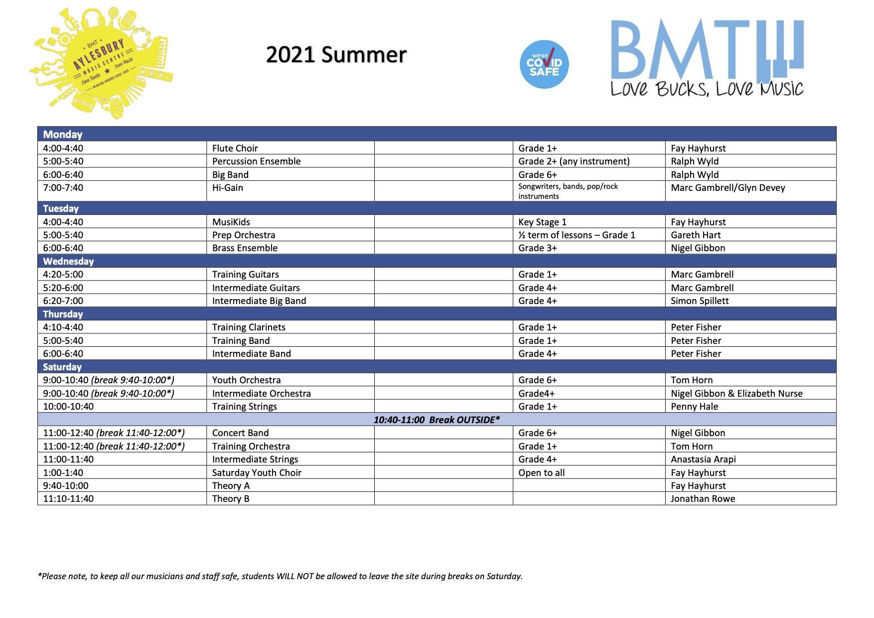 Summer 2021 timetable