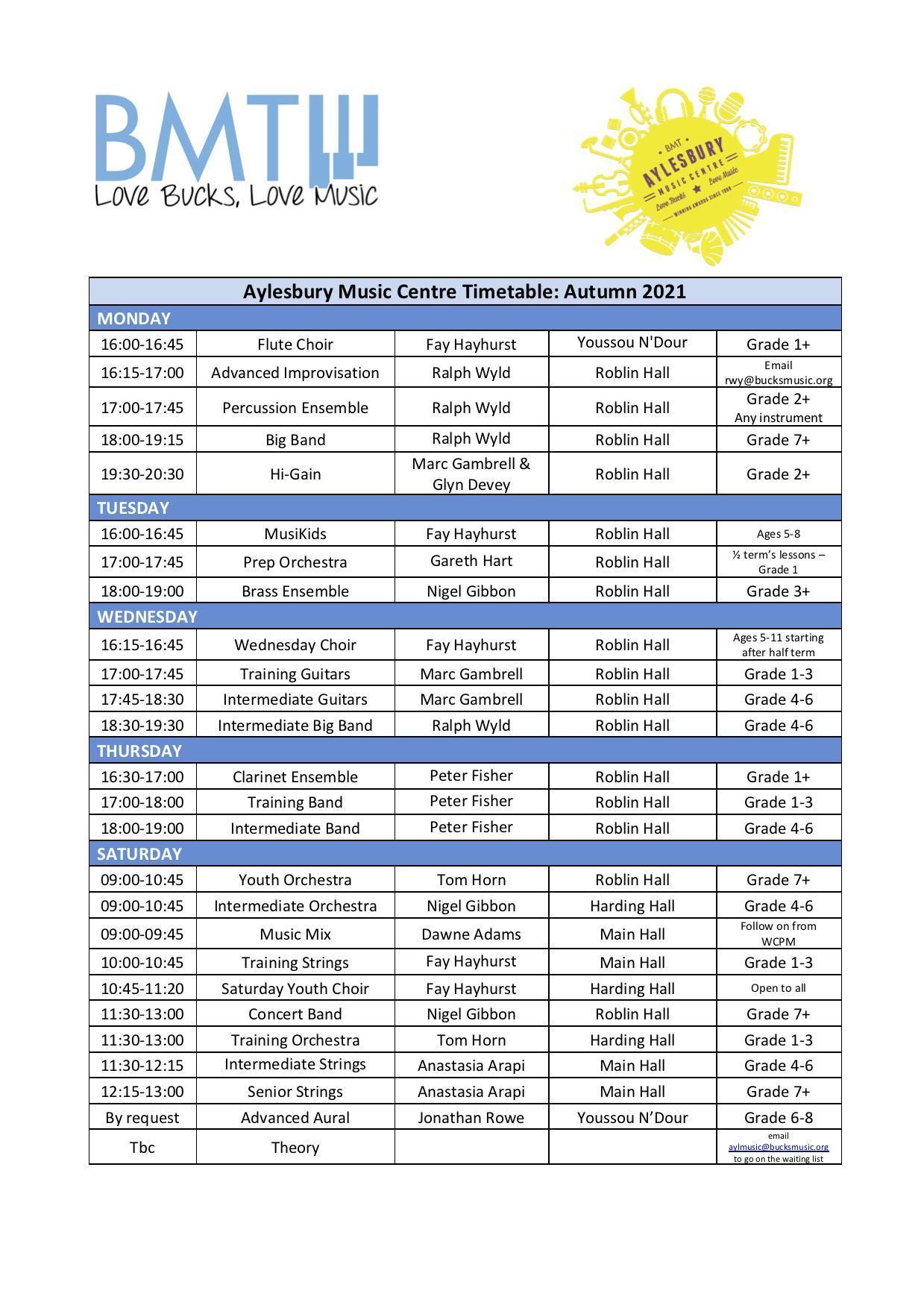 AyMC Centre Timetable Autumn 2021